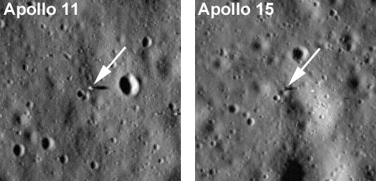 Фотографии посадочных площадок Аполлона 11 и Аполлона 15
