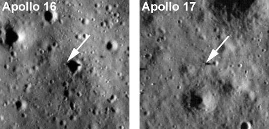 Фотографии посадочных площадок Аполлона 16 и Аполлона 17