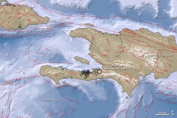 Карты землетрясения и подземных толчков на Гаити