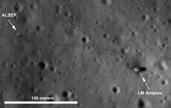 Фотография площадки прилунения Аполлона 14 с космического аппарата LRO - виден лунный модуль