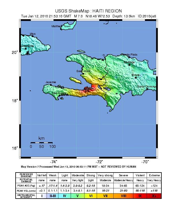 Интенсивность землетрясения на Гаити