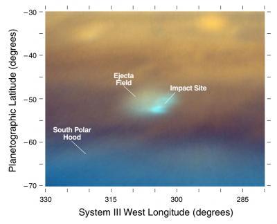 Изображение участка воздействия в южном полушарии Юпитера