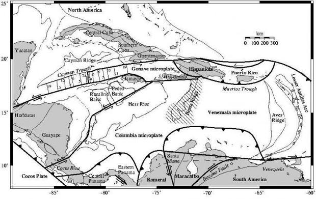 Тектоническая карта Карибского бассейна.