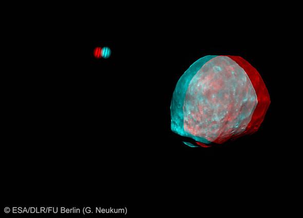 Стереоизображение Фобоса и Юпитера