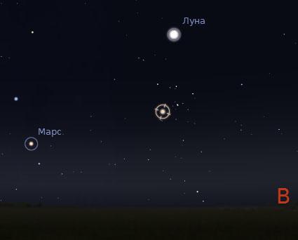 Луна, Марс и Альдебаран невооруженным взглядом 26-28 июля