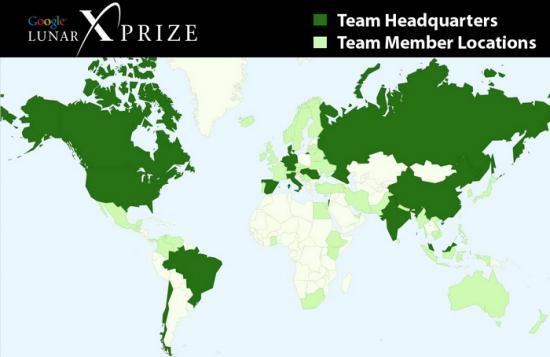 Карта участников Google Lunar X PRIZE (GLXP)