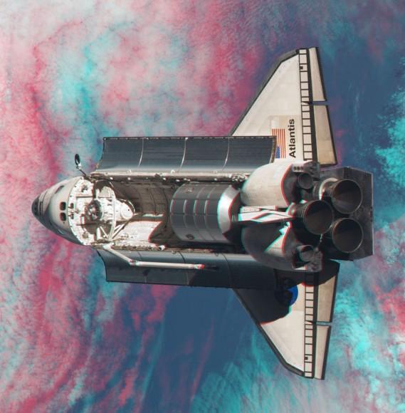 Фотография шаттла «Атлантис» в 3D