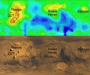 Концентрация метана в осенний период на Марсе