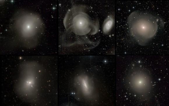 Пример эллиптических галактик из обзора Atlas3D, все показывает явные признаки недавнего столкновения
