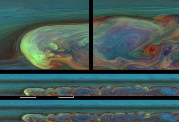 Цветное изображение шторма на Сатурне