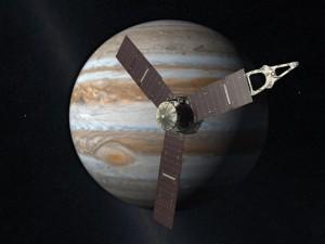 Космический аппарат Джуно (Juno) на фоне Юпитера (модель)