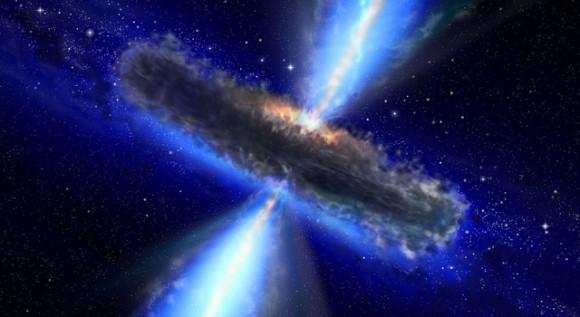 Квазар глазами художника, где астрономы обнаружили огромное количество водного пара. NASA/ESA