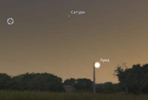 Сатурн и Луна на вечернем небе 3 августа 2011 года