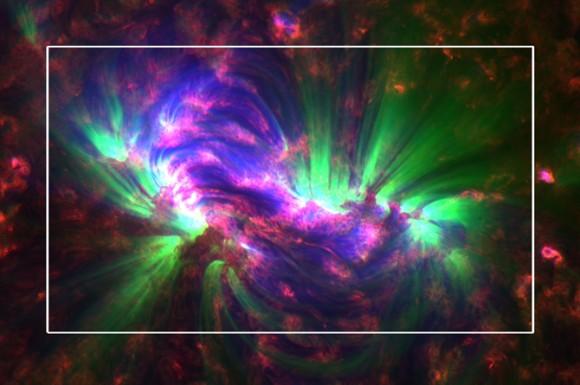 Увеличенная область Солнца. NASA/SDO/AIA