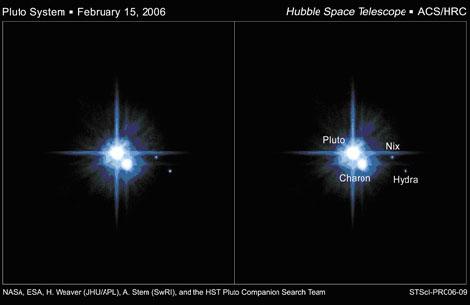 Изображения системы Плутон-Харон, сделанное космическим телескопом Хаббл. Также показаны Никс и Гидра. Изображение: NASA / ESA