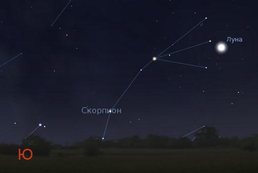 Луна и Скорпион в небе 7 августа 2011 года
