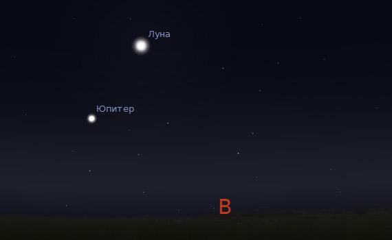Юпитер и Луна в небе 19 августа 2011 года