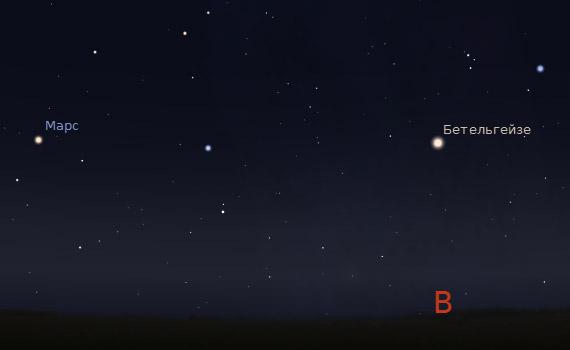 Марс и Бетельгейзе с 26 августа 2011 года приблизительно в 3:00. Буква В - Восток