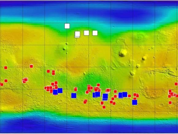 Эта карта Марса показывает относительные местоположения трех типов результатов, связанных с соленой или замороженной водой, плюс новый тип обнаружения, которое может быть связано и с солью, и с водой.