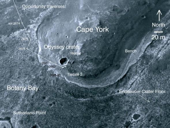 Мыс Йорк (Cape York) в кратере Индевор (Endeavour).