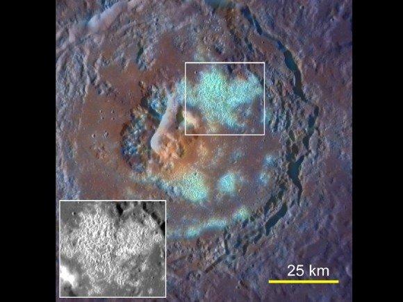Пустоты на Меркурии (голубым цветом). Большая впадина в центре может быть вулканического происхождения