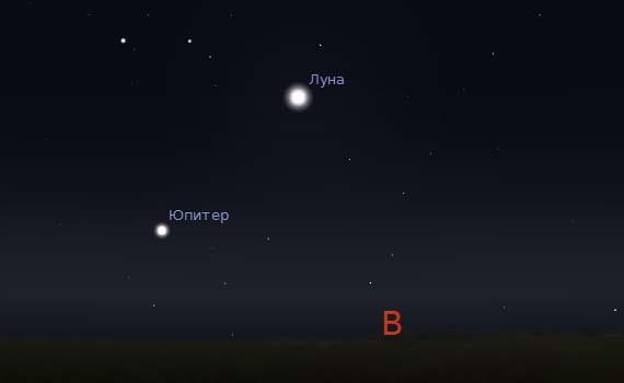 Юпитер и Луна в небе 15 и 16 сентября 2011 года