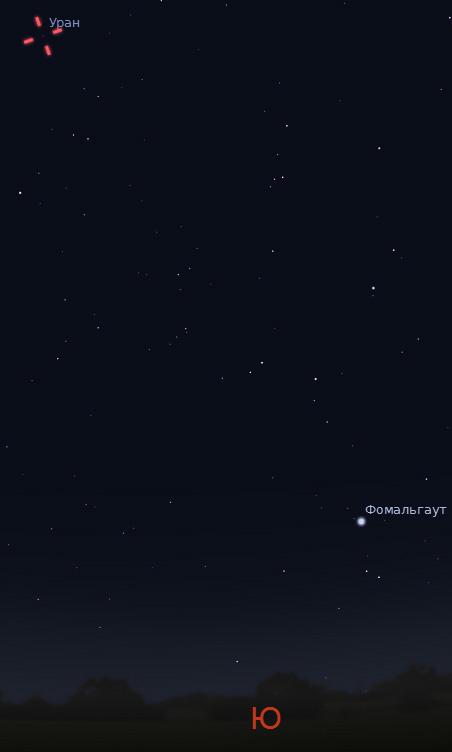 Планета Уран в небе 24 и 25 сентября 2011 года