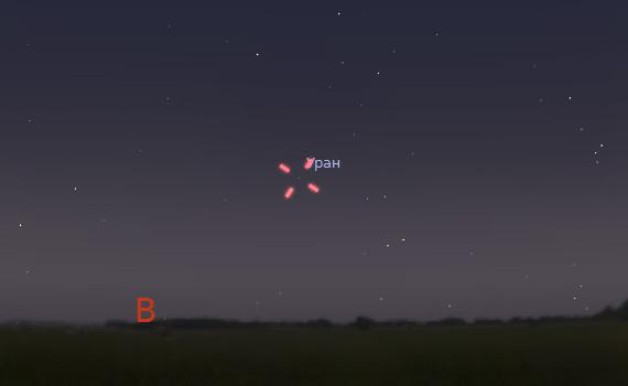 Уран 25 сентября 2011 года (время на изображении - 19:40). Буква В - Восток