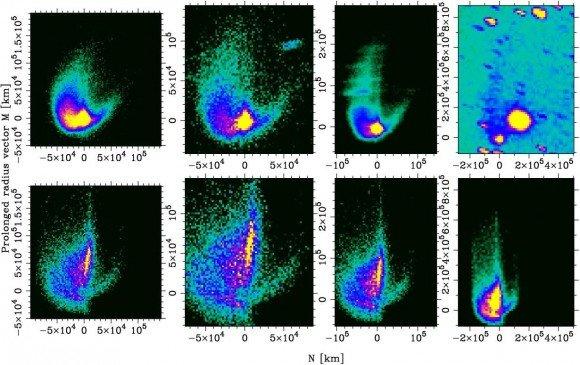 Слева на право: изображения астероида Шейлы от 13, 14, 17 и 29 декабря 2010 года соответственно. Изображения в верхней строке получены в ходе наблюдений; в нижней строке - в результате моделирования