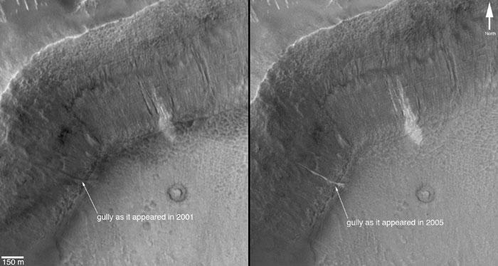 Причина появления оврагов на Марсе — газ