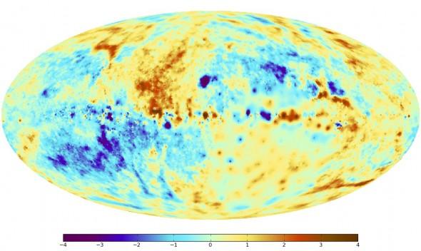 Рис. 3. На этой карте поправка на влияние галактического диска была сделана для того, чтобы подчеркнуть слабые структуры магнитного поля (нажмите для увеличения)