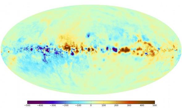 Карта эффекта Фарадея вызванного магнитными полями Млечного Пути