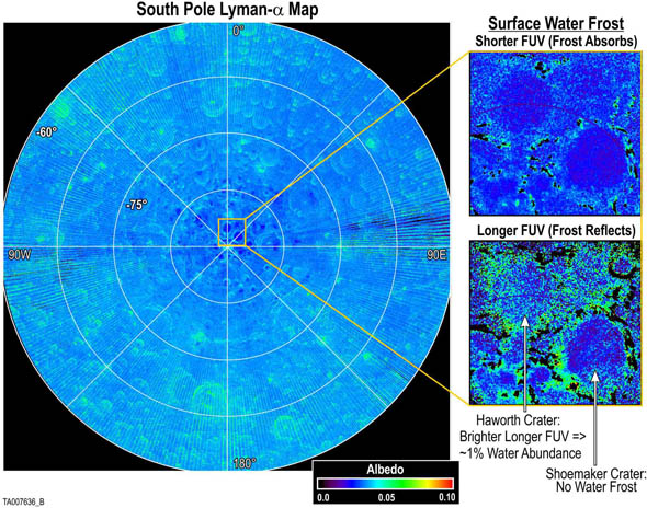 Карта лунной поверхности, полученная при помощи инструмента LAMP