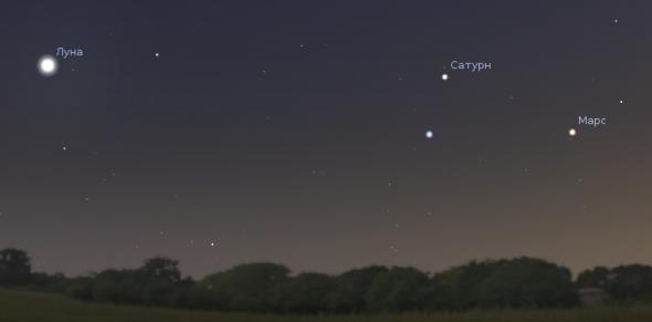 Спика, Сатурн и Марс в вечернем небе 27 июля 2012 года. Время на изображении 21:45