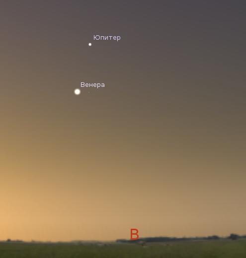 Венера и Юпитер 14 июля 2012 года