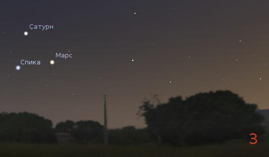 Спика, Сатурн и Марс 7 августа 2012 года