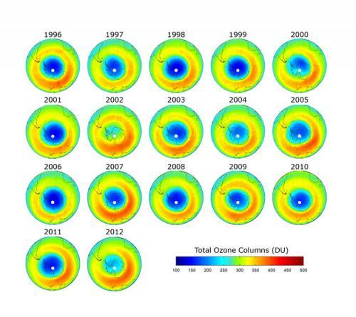 Озоновая дыра стала меньше в 2012 году