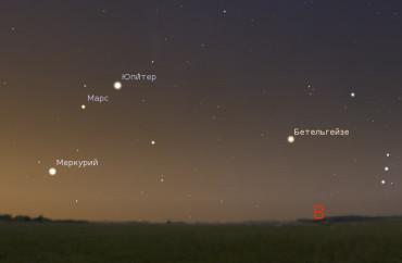 Меркурий, Марс и Юпитер в конце июля