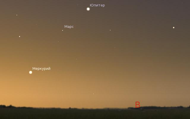 Марс, Меркурий и Юпитер на небе в августе 2013 года