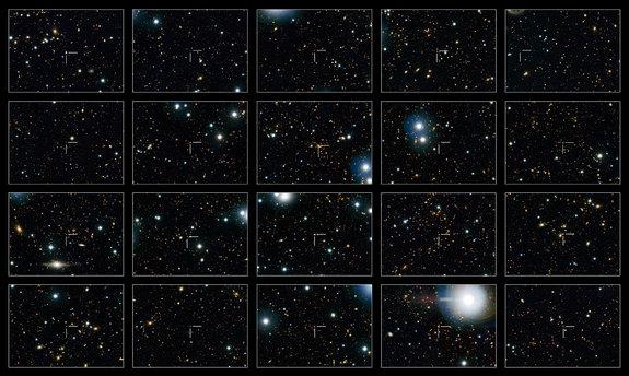 """Изображение демонстрирует 20 """"подавленных галактик"""" - галактики, которые больше не формируют звезды."""