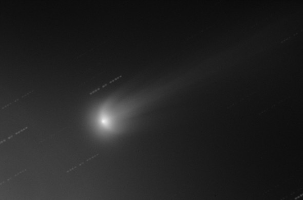 """Это изображение, сделанное 16 ноября 2013 года, показывает атмосферу кометы ISON с двумя """"крыльями"""", напоминающими букву U"""