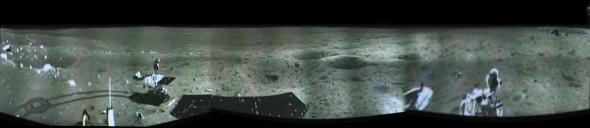 Панорама Луны. В кадре виден первый китайский луноход
