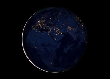 Африка, Европа и Ближний Восток ночью из космоса