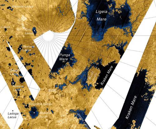 Карта северной области Титана, которая покрыта озерами