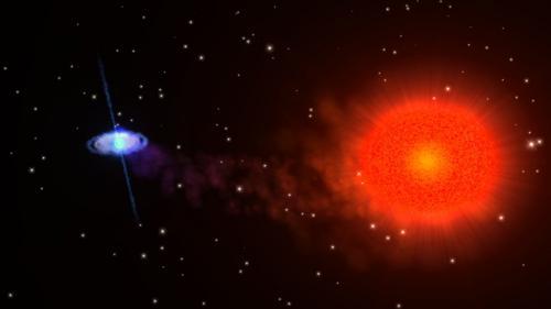 нейтронная звезда и красный гигант