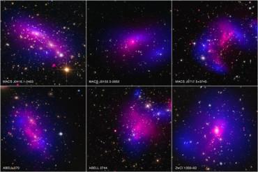 Карта темной материи после столкновения звезд